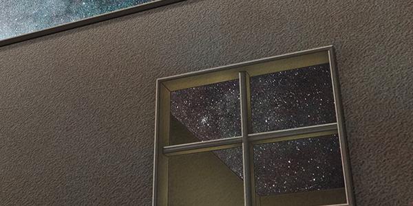キューブ型のファサードには印象的な十字窓